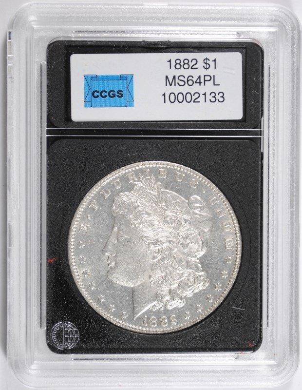 1882 MORGAN SILVER DOLLAR, CCGS GEM BU PL  NICE