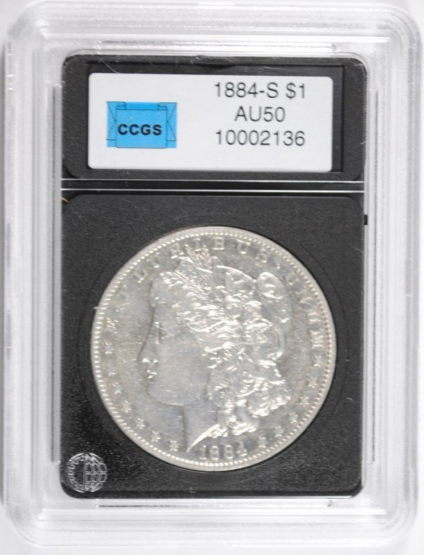 1884-S MORGAN SILVER DOLLAR, CCGS AU  SCARCE