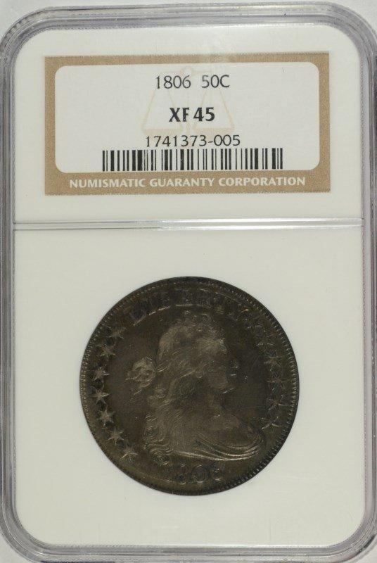 1806 BUST HALF DOLLAR NGC XF/AU 45, RARE TYPE COIN!