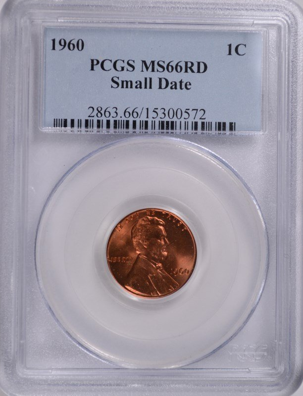 1960 SMALL DATE LINCOLN CENT PCGS MS-66 RD