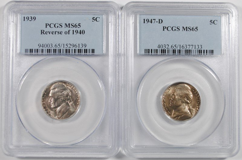 1939 REVERSE OF 1940 & 1947-D JEFFERSON NICKELS, PCGS