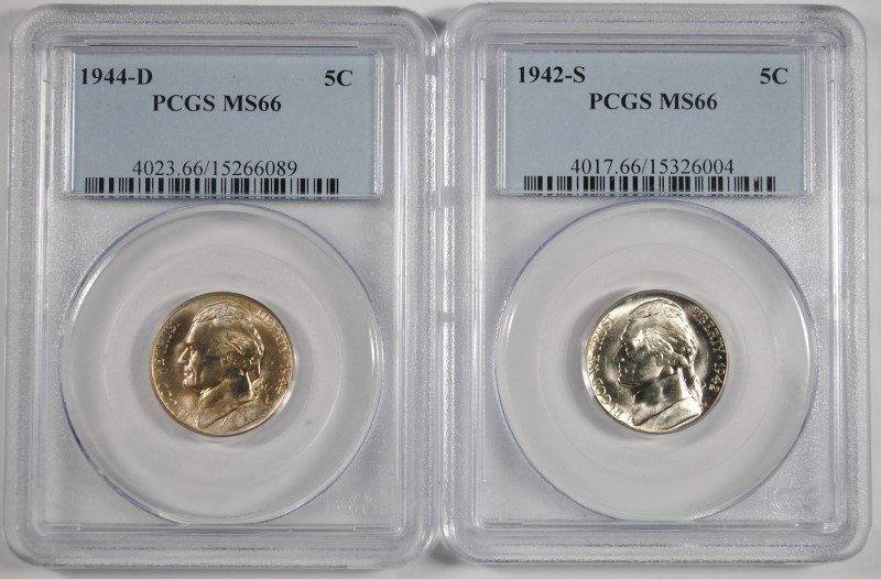 1944-D, 42-S SILVER JEFFERSON NICKELS PCGS MS-66