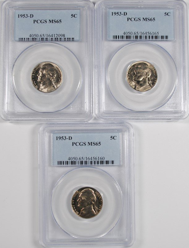 ( 3 )  1953-D JEFFERSON NICKELS, PCGS MS-65