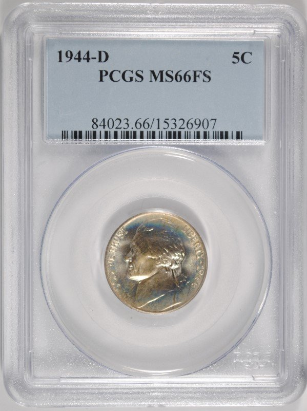 1944-D JEFFERSON NICKEL, PCGS MS-66 FULL STEPS