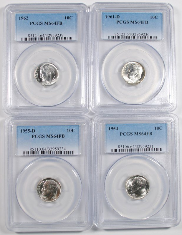 ( 4 ) PCGS GRADED MS-64 FULL BANDS ROOSEVELT DIMES: