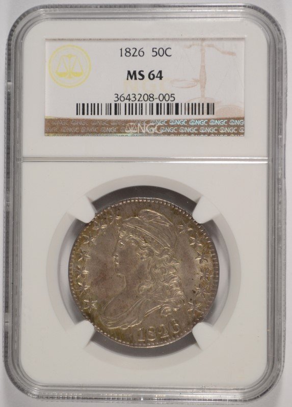 1826 BUST HALF DOLLAR, NGC MS-64 BEAUTIFUL COLOR, RARE