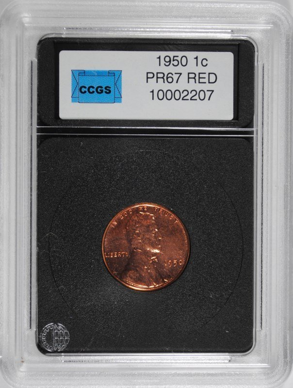 1950 LINCOLN CENT, CCGS SUPERB RED PROOF++