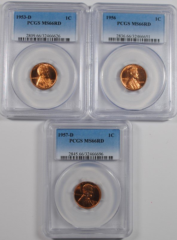 LOT OF ( 3 ) PCGS MS-66 RED LINCOLN CENTS: 1953-D, 1956