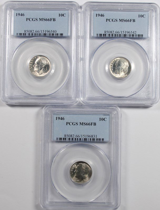 ( 3 ) 1946 ROOSEVELT DIMES, PCGS MS-66 FULL BANDS!