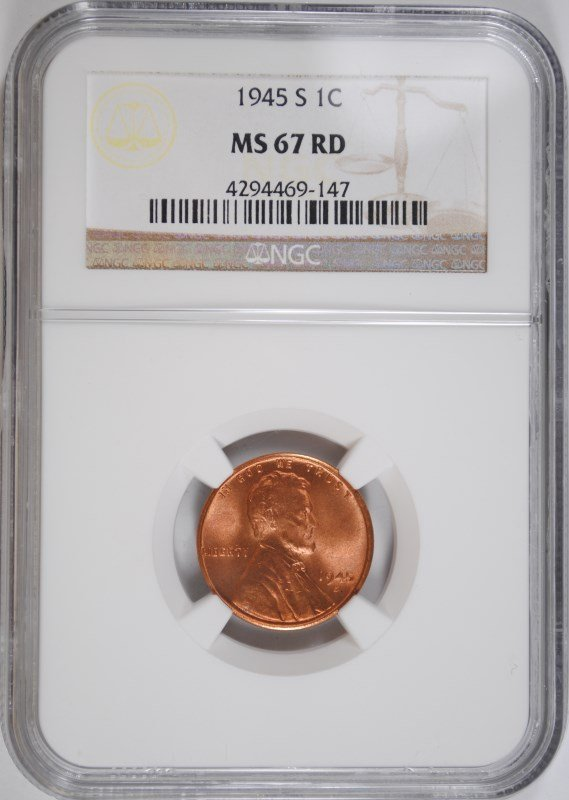1945-S LINCOLN CENT, NGC MS-67 RED NGC  PRICE GUIDE=