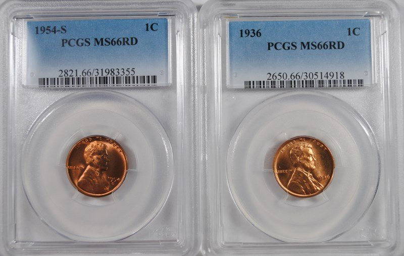 1936 & 1954-S LINCOLN  CENTS, PCGS MS-66 RED