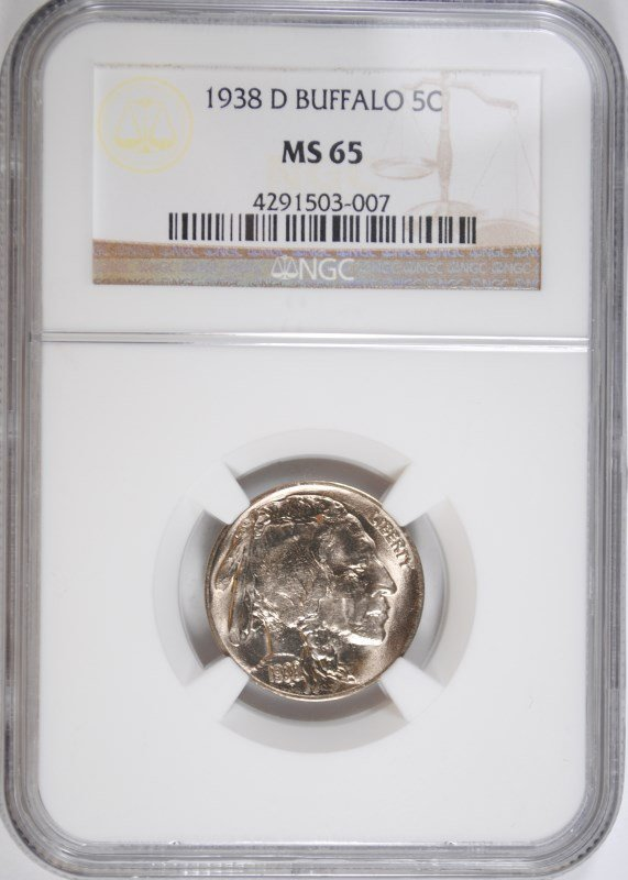 1938-D BUFFALO NICKEL, NGC MS-65