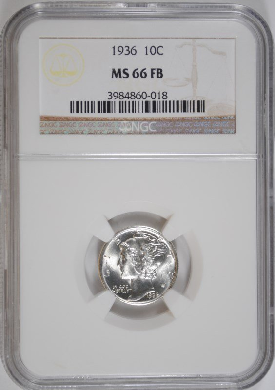 1936 MERCURY DIME, NGC MS-66 FULL BANDS  NGC PRICE