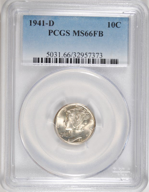 1941-D MERCURY DIME PCGS MS 66 FB