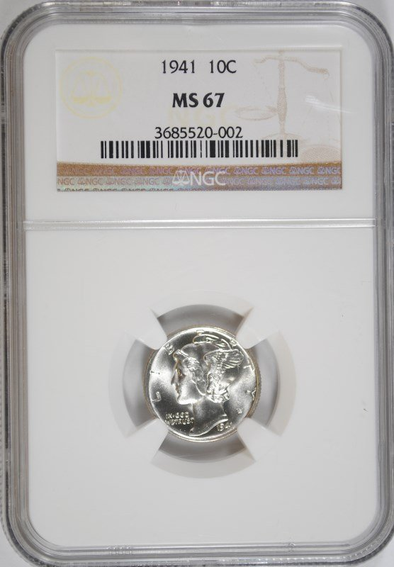 1941 MERCURY DIME, NGC MS-67