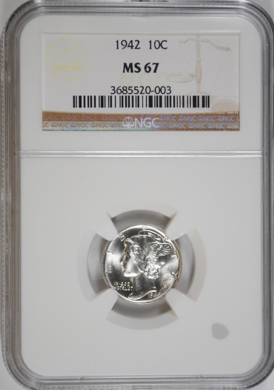 1942 MERCURY DIME, NGC MS-67