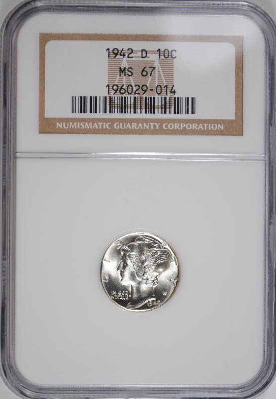 1942-D MERCURY DIME, NGC MS-67
