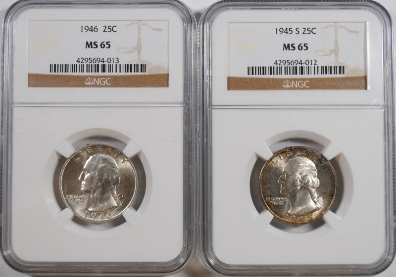 1945-S & 1946 WASHINGTON QUARTER, NGC MS-65