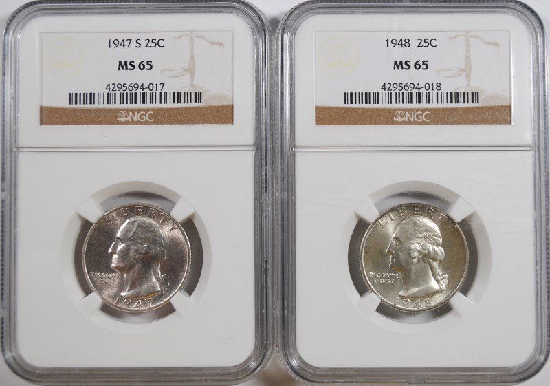 1947-S & 1948 WASHINGTON QUARTERS, NGC MS-65