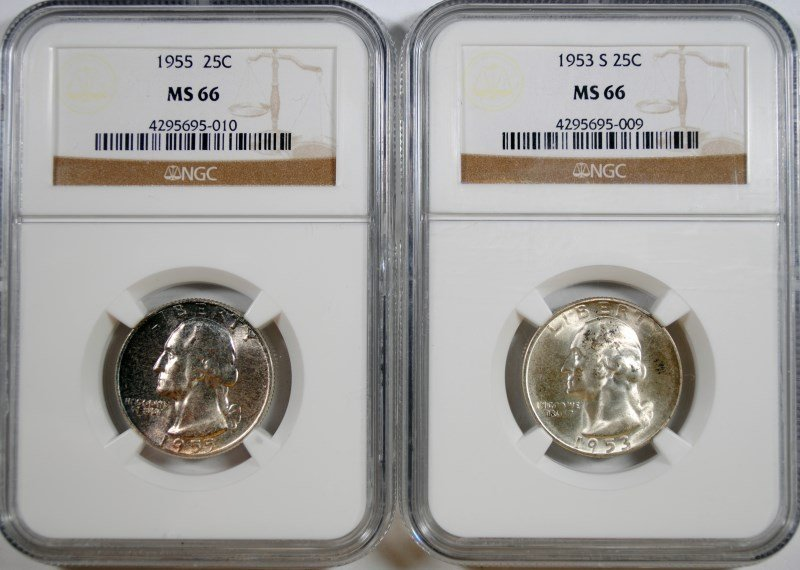 1953-S & 1955 WASHINGTON QUARTERS, NGC MS-66