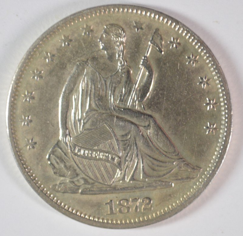 1872-S SEATED LIBERTY HALF DOLLAR CH BU BLAST WHITE