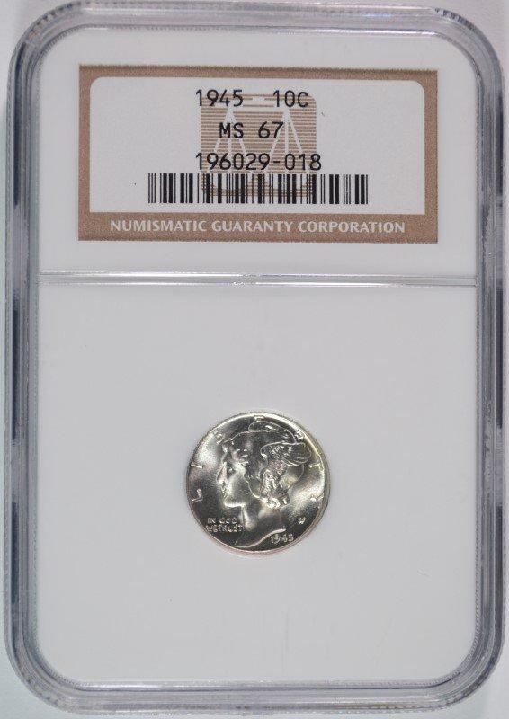 1945 MERCURY DIME, NGC MS-67