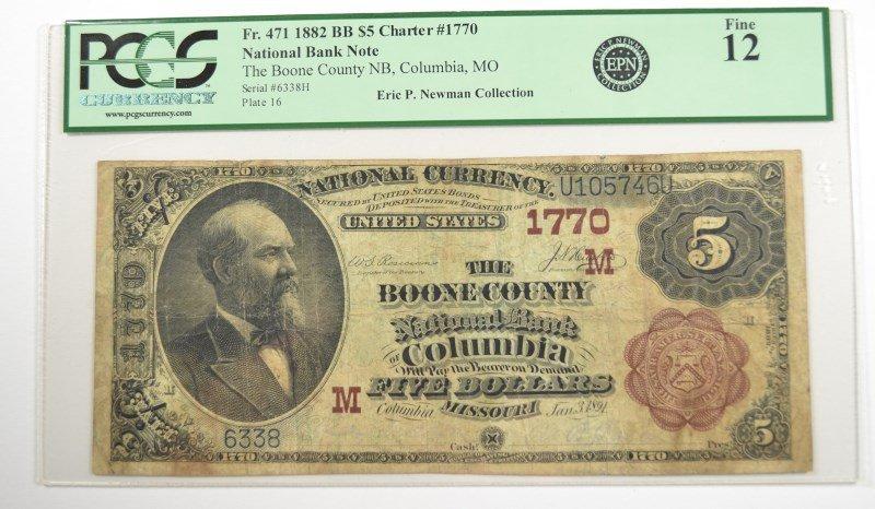 1882 $5 NATIONAL (COLUMBIA, MO) #1770 PCGS FINE-12