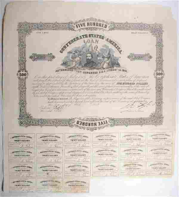 1861 $500.00 CSA BOND, VF WITH 21 COUPONS CR66/B93,