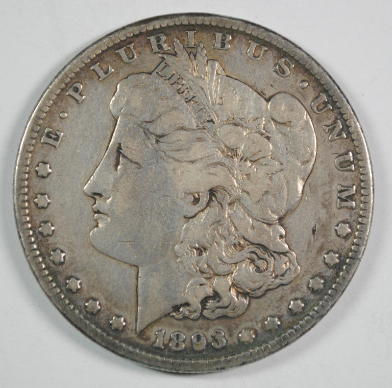 """1893-S MORGAN SILVER DOLLAR, VF  THE """"KING"""" OF THE"""