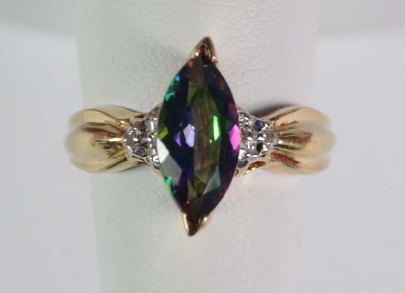 MYSTIC TOPAZ RING MARQUISE CUT SET IN 10 K YELLOW GOLD