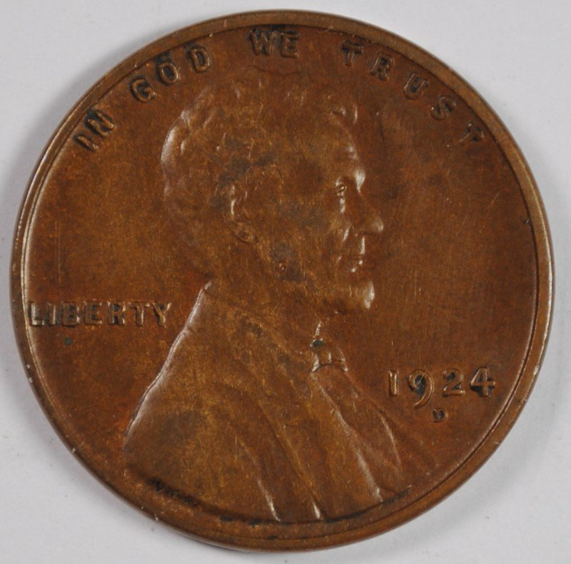 1924-D LINCOLN CENT, XF+