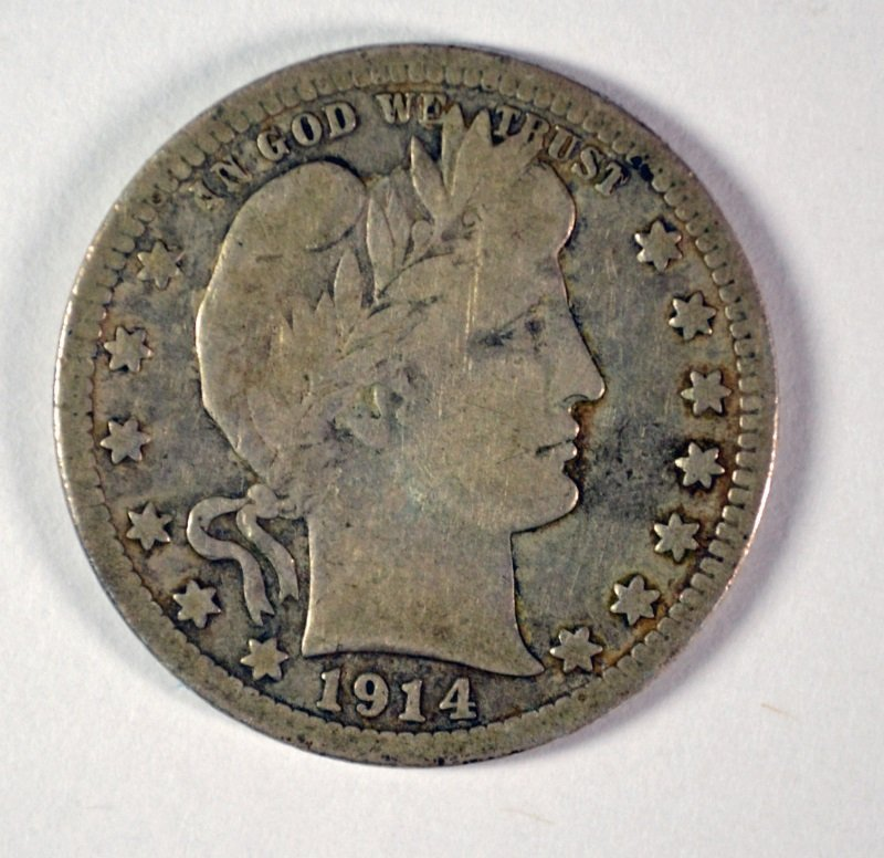 1914-S BARBER QUARTER, ABOUT FINE,  KEY COIN