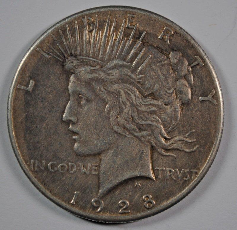 1928 PEACE SILVER DOLLAR, XF KEY COIN