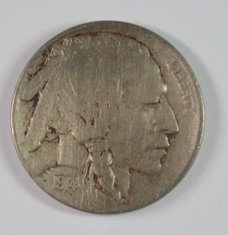 1914-D BUFFALO NICKEL, XF  KEY COIN