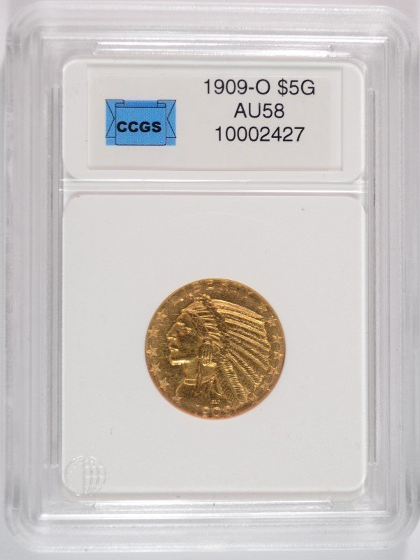 1909-O $5.00 INDIAN GOLD, THE KEY TO THE SET, CCGS