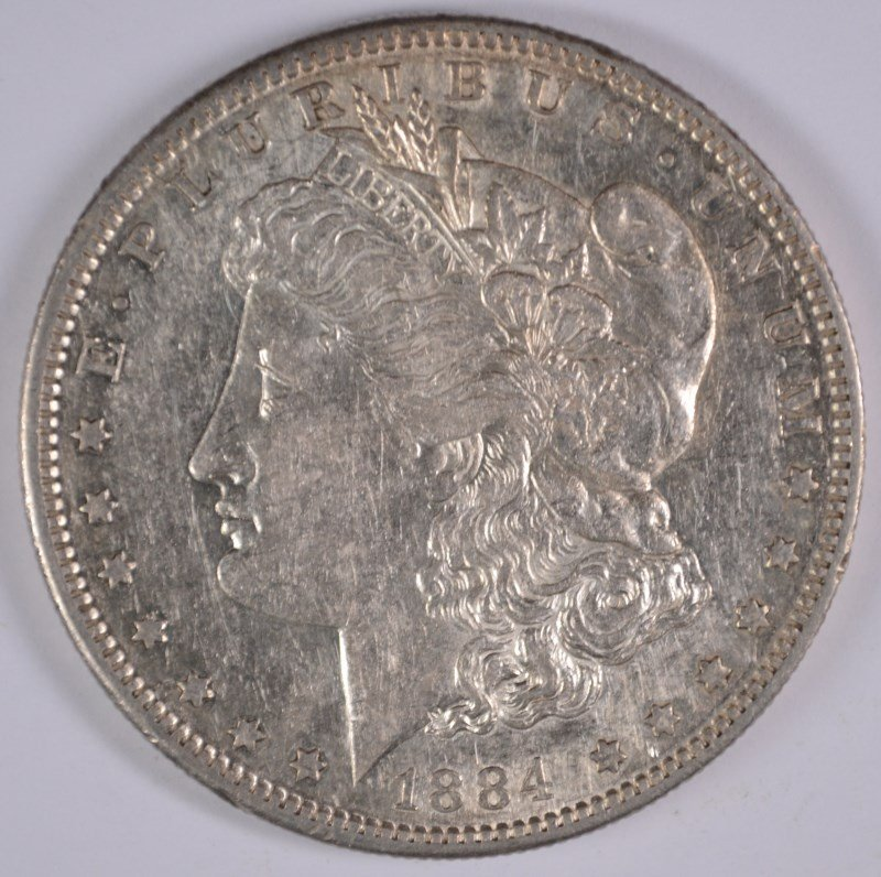 1884-S MORGAN SILVER DOLLAR, AU/BU TOUGH!