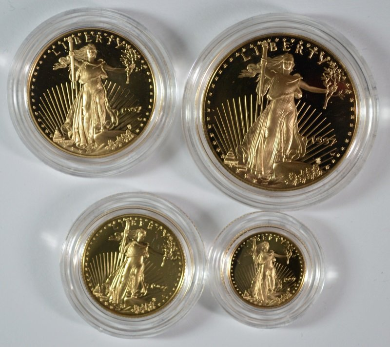 1997 4-PIECE PROOF AMERICAN GOLD EAGLE SET BOX/COA