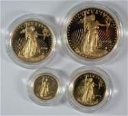 1996 4-PIECE PROOF AMERICAN GOLD EAGLE SET BOX/COA