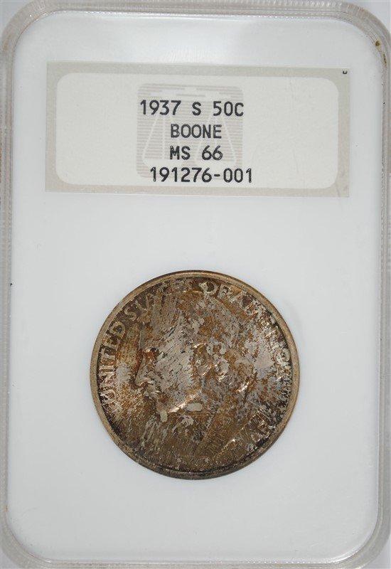 1937-S BOONE COMMEMORATIVE HALF DOLLAR, NGC MS-66 OLD