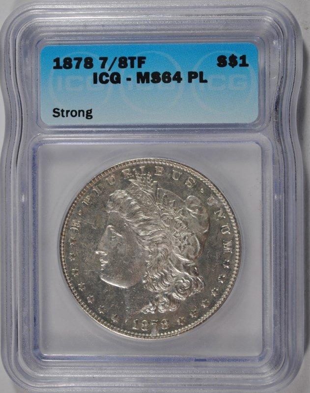 1878 7/8 TF MORGAN SILVER DOLLAR ( STRONG ), ICG MS-64