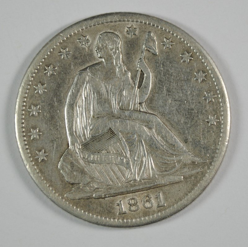 1861-S SEATED LIBERTY HALF DOLLAR AU   CLEANED