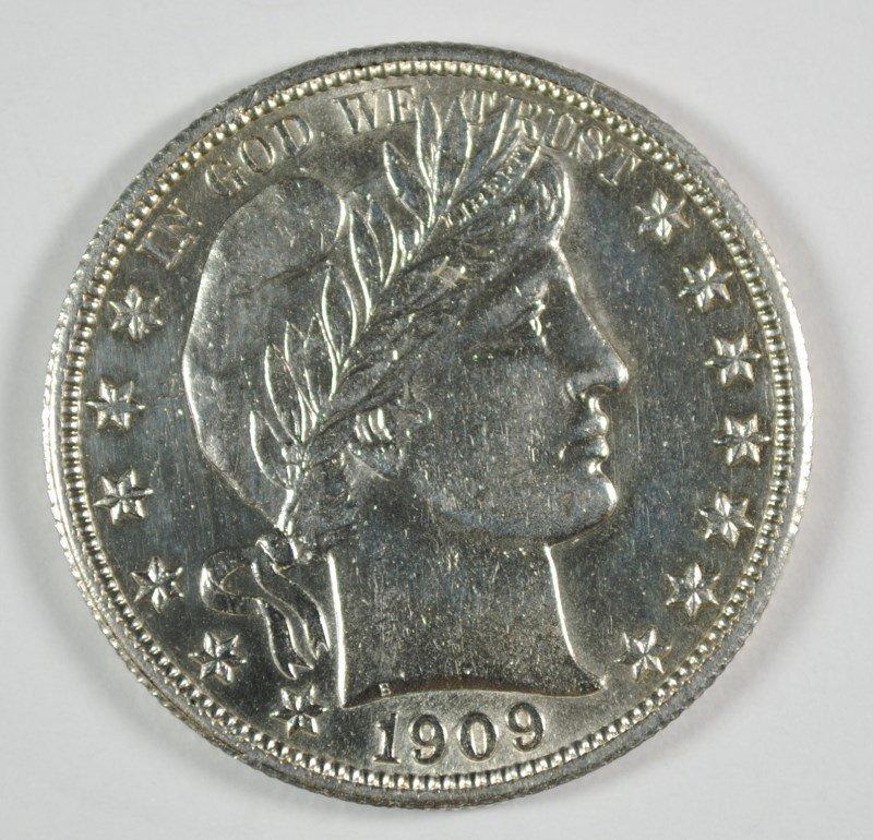 1909 BARBER HALF DOLLAR, BU CLEANED