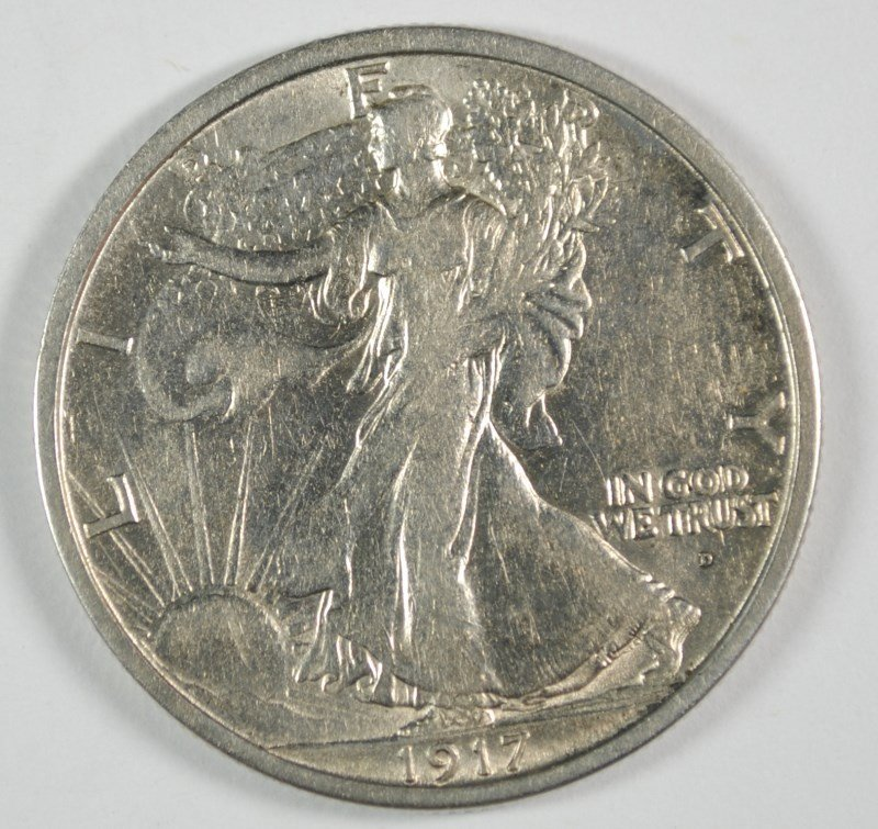 1917-D OBVERSE WALKING LIBERTY HALF DOLLAR AU
