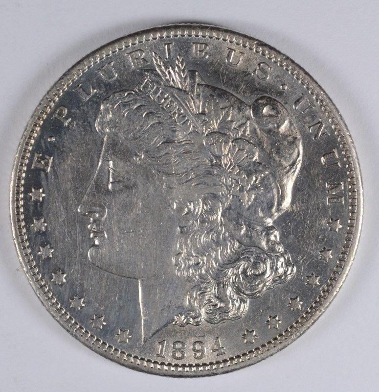 1894-S MORGAN SILVER DOLLAR, AU/BU