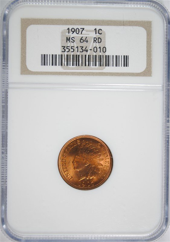 """1907 INDIAN HEAD CENT, NGC MS-64 RED """"EAGLE EYE"""""""