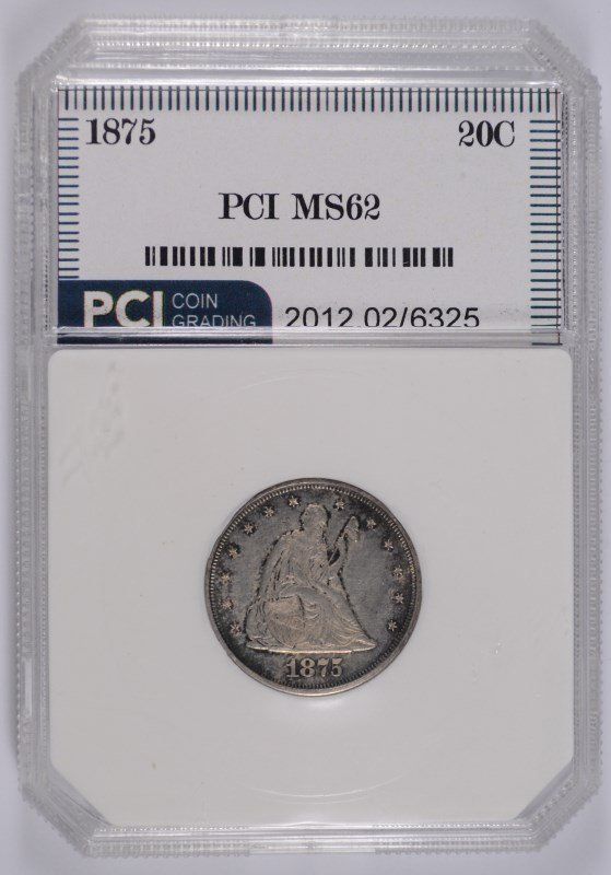 1875 20 CENT PIECE, PCI CHOICE BU