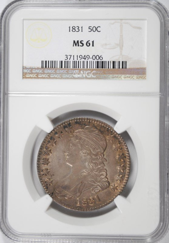1831 CAPPED BUST HALF DOLLAR, NGC MS-61 GORGEOUS