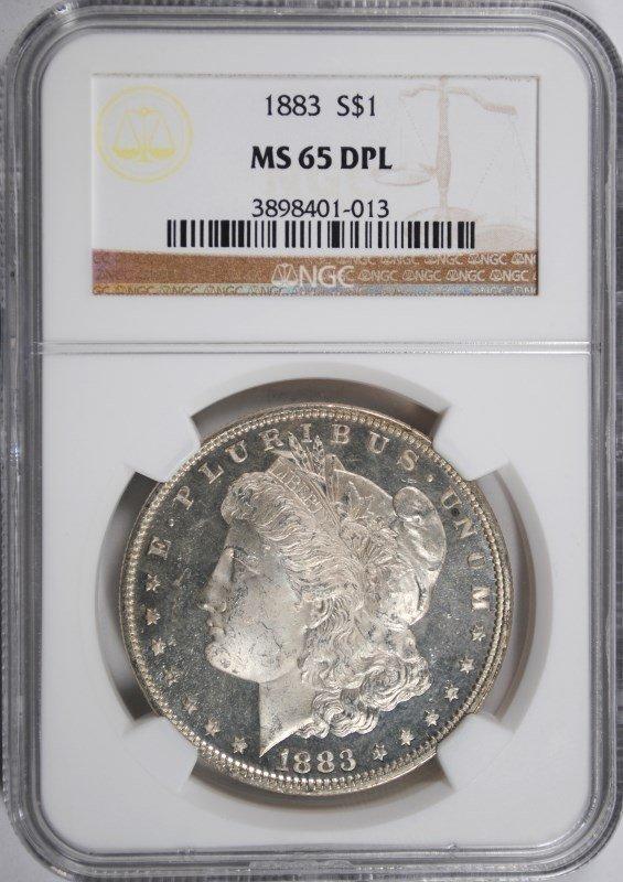 1883 MORGAN SILVER DOLLAR, NGC MS-65 DPL