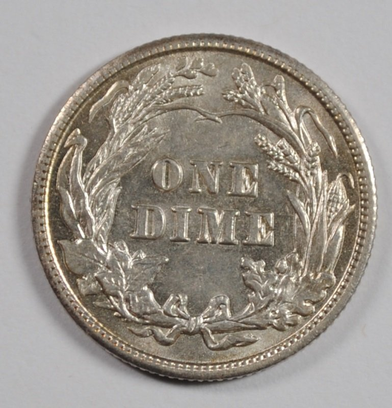 1902 BARBER DIME CHOICE BU - 2