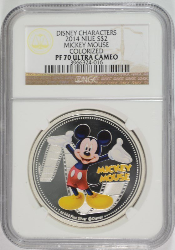 2014 NIUE ONE OUNCE SILVER MICKEY MOUSE COLORIZED COIN